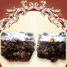 Kostka z makiem i rodzynką w białej czekoladzie